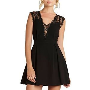 BCBGeneration Black Lace Insert A-Line Dress